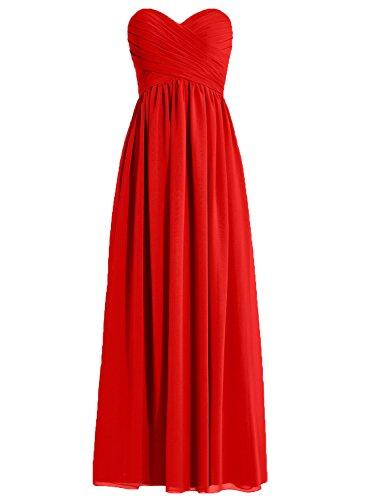 de Plisado honor Paseo Novio HUINI Vestidos Largo Rojo de Vestidos dama Gasa Fiesta X4xBwq