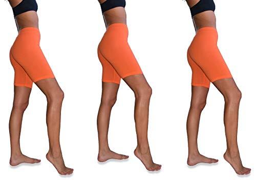 Sexy Basics Womens 3 Pack Sheer & Sexy Cotton Spandex Boyshort Yoga Bike Shorts (X-Large -8, 3 Pack-NEON Orange)