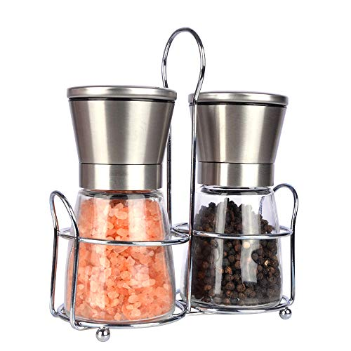 Premium Salt and Pepper Grinder set with Matching Stand.Adjustable and 100% Corrosion Resistant Ceramic Grinding Mechanism.Easy to Refill or Clean.(Notes: SALT OR PEPPER ARE NOT INCLUDED.)