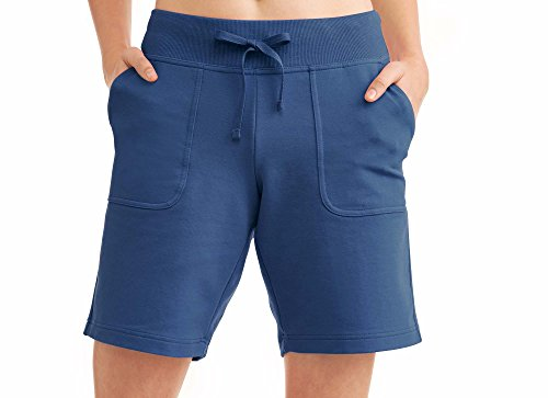 Athletic Works Women's Essential French Terry Bermuda Shorts Indigo Medium (Terry Bermuda)