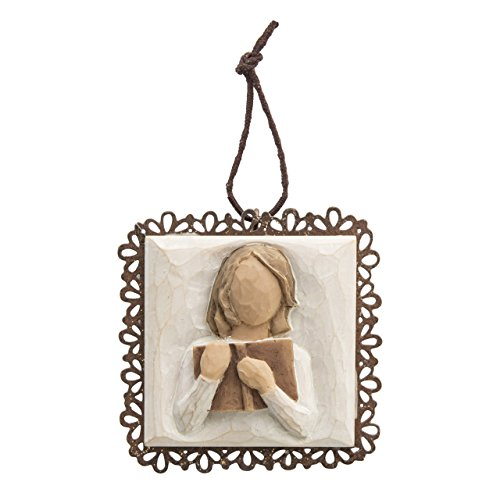 Willow Tree hand-painted sculpted Metal-edged Ornament, Love of Learning (26201)