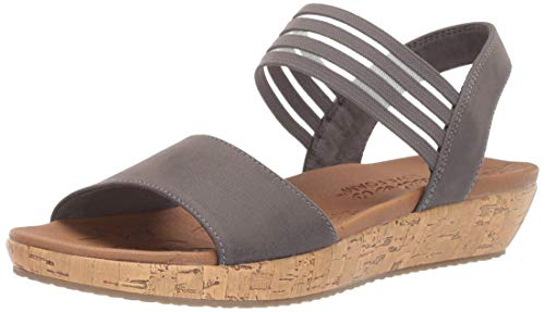 Skechers Women's Brie-LO'PROFILE-Stretch Mesh Vamp Sling Back Sandal Sport, Charcoal, 9.5 M ()