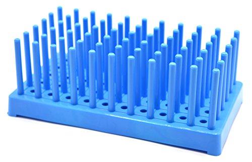 (Blue Plastic Test Tube Peg Drying Rack Holds 50 16mm Test Tubes - Eisco Labs)