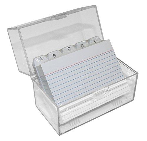 Idena 375257 - Karteikartenkasten A7 mit Schnappverschluss, inklusive 100 Karten und A-Z Register, transparent
