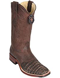 Men's Wide Square Toe with Saddle Genuine Leather Caiman Belly Skin Western Boots