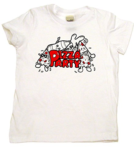 Baby Wit Pizza Party Retro Cool Cotton Toddler T-Shirt, 2T, White