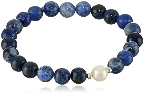 Genuine Blue Sodalite with White Freshwater Cultured Pearl Accent Beaded Stretch Bracelet, 6.5