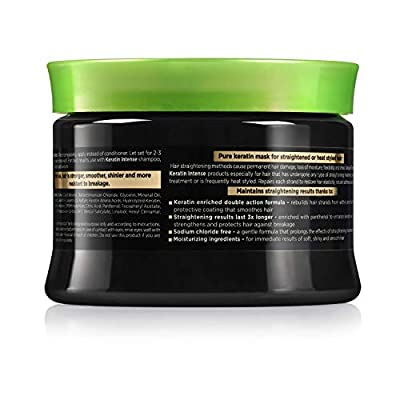 Natural Formula Keratin Intense Repair Hair Mask – Keratin Infused Straightening Mask - Sodium Chloride Free Hair Cream Mask – Deep Conditioning Treatment For Frizz Free Straightened Hair 11.8 fl.oz