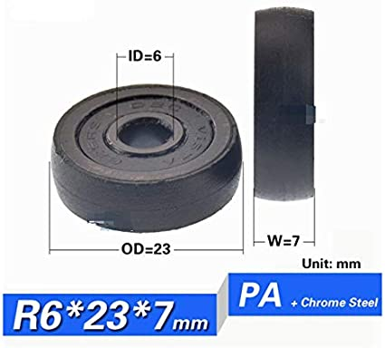 KF-WHEELS 10PCS 696zz 606zz 626zz Round Type Ball Bearing Coated With Plastic Pom All Kinds Sliding Roller Wheel Pulley ID6mm Size : 6X22.5X7