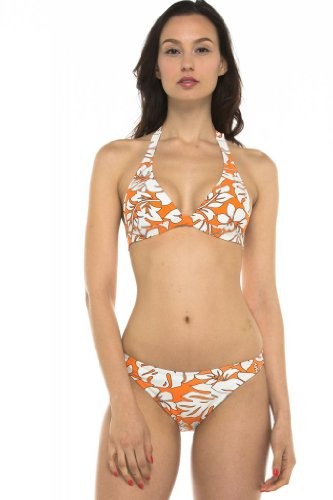 Private Island Hawaii UV Women Halter Tied Bikini Top Orange with Ivory White XX-Large - Orange White Bikini