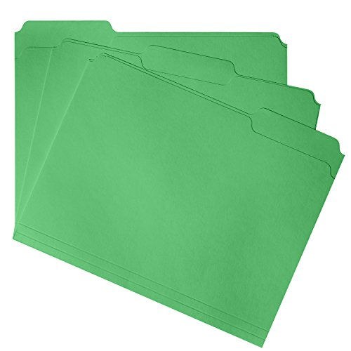 File Folder, 1/3 Cut Tab, Letter Size, Green, Great for organizing and easily file storage, 100 Per Box