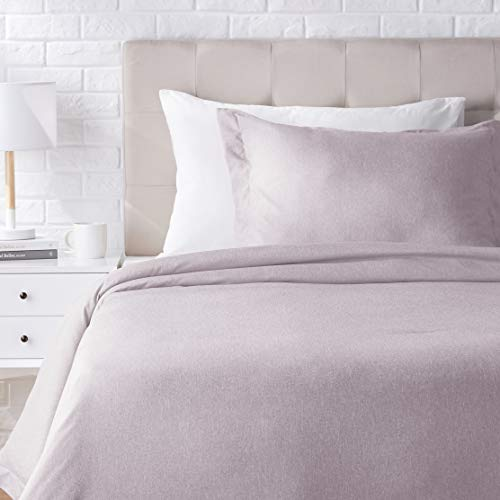 AmazonBasics Chambray Duvet Cover Bed Set - Twin or Twin XL, Purple Dusk (Duvet White Cover And Purple)