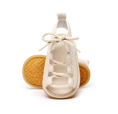Isbasic Baby Boys Girls Summer Roman Sandals Shoes (12-18 months, beige) (Shoes Roman Sandals)