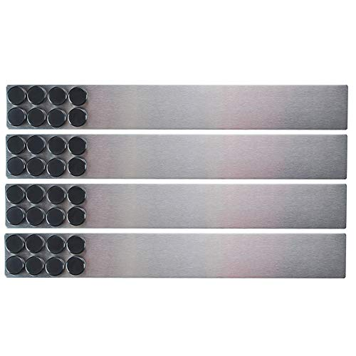 Lockways Magnetic Whiteboard Strip Set 4 Pieces 2 x 15 Inch Bulletin Board bar Silver Stainless Adhesive Backing Memo Board for Office Magnetic Calendar Photos Name Cards amp Papers