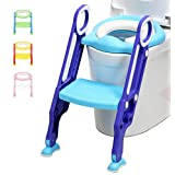 LANGXUN Potty Training Seat with Ladder for Boys and Girls,Baby Toddler Toilet Training Seat, Ideal Christmas Gift for Kids Aged 1-6 (Blue/Green)