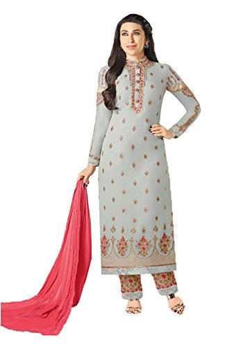 ce717134be VIVIKI Designer Women's Faux Georgette Embroidery Gown Latest Party Wear  Designe Straight Anarkali Semi Stitched Free