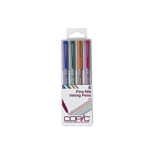 Copic Markers Multiliner Color Pigment Based Ink, 4-Piece Set - Copic Multiliner Sp Color Pens