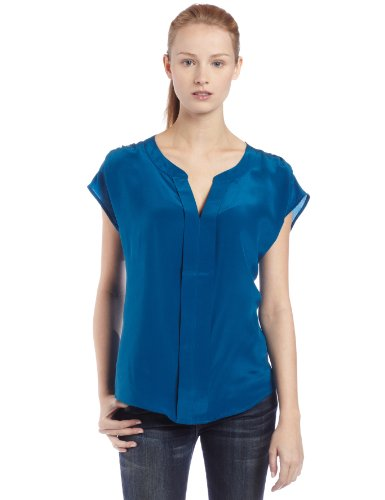 UPC 885828555228, Ella Moss Women's Bodga Short Sleeve V-Neck Top, Blue, Large