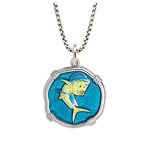 Guy Harvey Enameled Dolphinfish Pendant Sterling Silver on 22