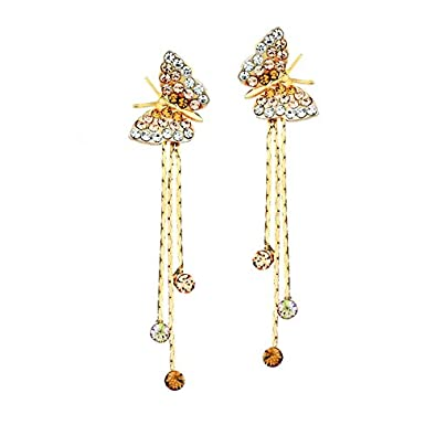 7d2230802 Buy Yellow Chimes Butterfly Charm by Yellow Chimes Gold Plated and Cubic  Zirconia Drop Earrings for Women (Golden)(YCFJER-230BTRFLYSTRNGS-GL) Online  at Low ...