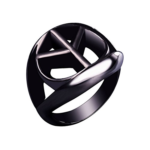 (U7 Black Gun Plated Peace Sign Ring, Size 12)