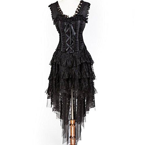 Black Lace Corset Skirt and Hem Burlesque Dance Corselet Costumes Women Party Gothic Dress (Burlesque Dancing Costumes)