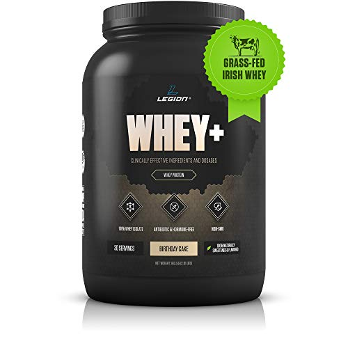 Legion Whey+ Whey Isolate Protein Powder from Grass Fed Cows – Low Carb, Low Calorie, Non-GMO, Lactose Free, Gluten Free, Sugar Free. Great for Weight Loss (30 Servings, Birthday Cake)