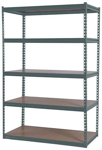 SR-1000 5-Shelf Easy Set-up Steel Storage Rack, 72 x 36 x 18-Inch, Gray Powder Coat Finish, 1000-Pound per shelf Capacity by Mustang Rack