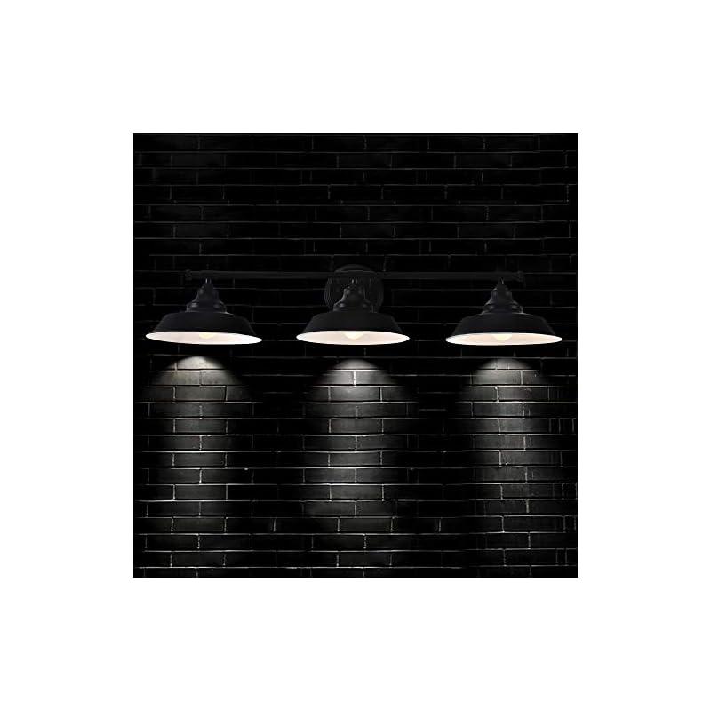 Bathroom Vanity Light Wall Sconce 3-Light, Black Metal Wall Light Fixtures, Indoor Wall Mount Lamp Shade for Farmhouse…