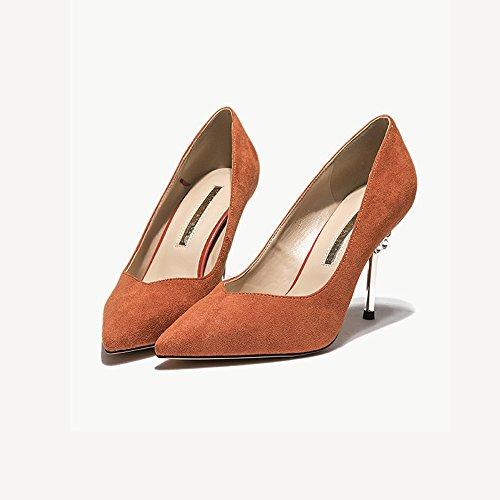 YIXINY Zapatos de tacón Tacones De Las Señoras Microfibra + PU Altura del Talón: 8 CM Negro, Naranja, Beige Cómodo Y Transpirable (Color : Black, Tamaño : EU36/UK3.5/CN35) Orange