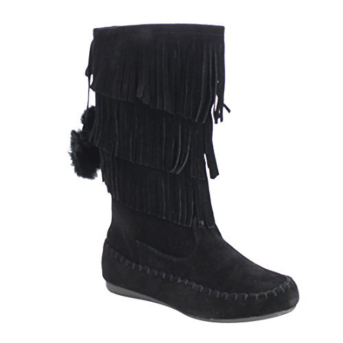 Moccasins Side Lace Boots (Link IC14 Girl's Fringe Pom Pom Lace Side Zipper Moccasin Mid-calf Boots, Color:BLACK, Size:10 M US Toddler)