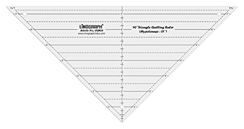 Linograph Clear Acrylic 90 Degree Non-Slip Triangle Quilting Ruler ()