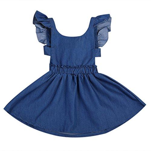Toddler Baby Girl Kids Summer Ruffle Sleeve Cute Backless Demin Dress Sundress (Blue, 5T)
