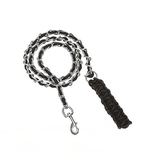 SENYEPETS Dog Leash Chain - Anti Bite Training Chain Rope Leads for Big Dogs Black XL (Chain Dog Leashes)