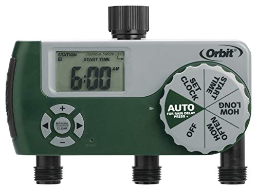 Orbit 56082 Programmable Hose Faucet Timer, 3 Outlet, Green (Renewed)