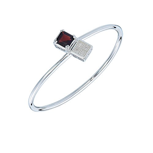 2 Ct Garnet Bracelet - Vir Jewels 8MM Princess Cut 2 CT Garnet and Diamond Cuff Bangle
