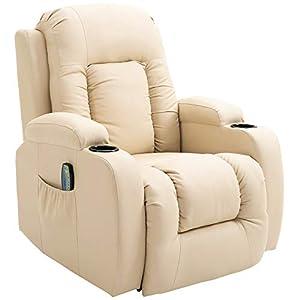 Homcom Fauteuil de Massage et Relaxation électrique Chauffant inclinable Repose-Pied télécommande écru