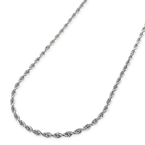 Twisted Gold 14k Rope (14k White Gold 1mm Solid Rope Diamond-Cut Link Twisted Chain Necklace 16