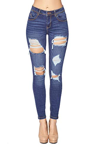 Blue Age Women's Stretch Denim Destroyed Skinny Jeans Medium (JP1081A_Medium_3)