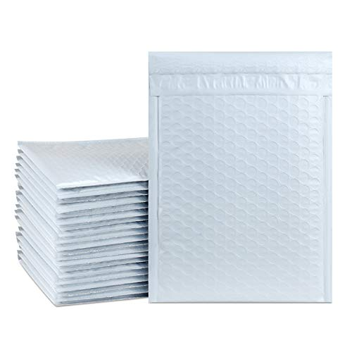 "UCGOU 6x10 Inch Waterproof Envelopes White Poly Bubble Mailers Pack of 50Pcs Padded Envelopes Boutique Custom Bags Shipping Envelopes Bags (usable size-6x9"")"