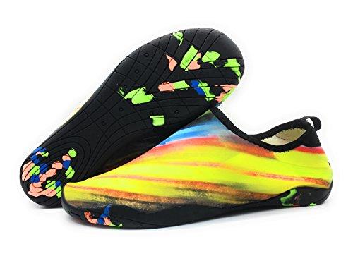 Everydlife Barfuß Quick Dry Wasser Schuhe für Männer, Aqua Socken Schwimmen Schuhe mit Drainage Löcher für Frauen Yoga Beach Gelb