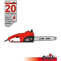 Grizzly Elektro Kettensäge, Motorsäge, elektrische Kettensäge mit Metallgetriebe1800 W, 35,5 cm Schnittlänge, Chromekette, autom. Kettenschmierung, Kabelzugentlastung, Kettenbremse, inkl. Ersatzkette