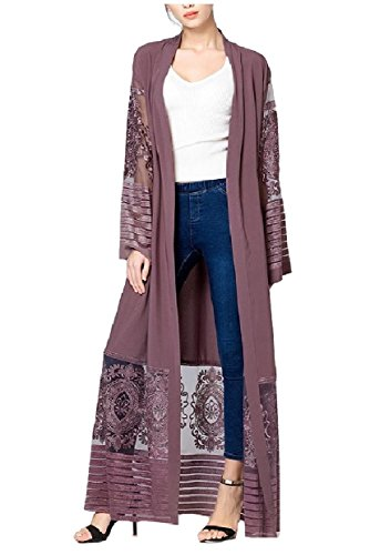Abetteric Womens Embroidered Dubai Style Cardi Robe Muslim Dresses Abaya Purple L