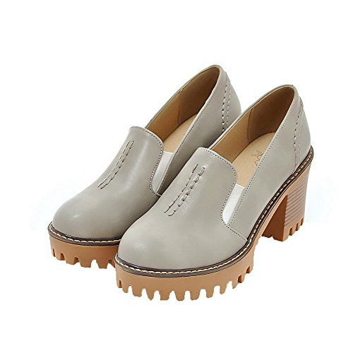 Gray Toe Pumps Solid Round on PU High Heels Pull WeiPoot Shoes Women's PEOqUS