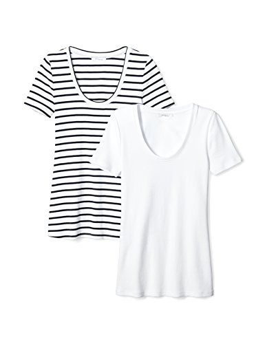 (Daily Ritual Women's Midweight 100% Supima Cotton Rib Knit Short-Sleeve Scoop Neck T-Shirt, 2-Pack, L, Navy-White Stripe/White)