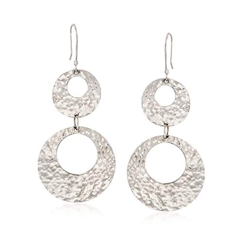 - Ross-Simons Sterling Silver Hammered Double Open Circle Drop Earrings