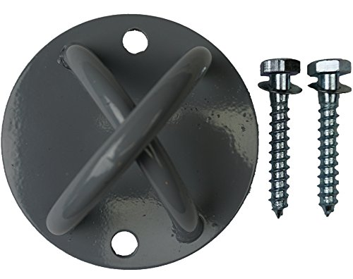Steel Mount Bracket Plate for Olympic Rings, Yoga, Boxing Bag, Suspension Straps Bodyweight Training - Wall or Ceiling Safe 4 1/2'' Inch Steel with 2 Socket Screws 550lbs Weight Load Safety by SAQEX Training