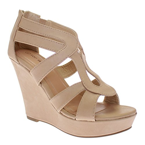 Womens Strappy Open Toe Platform Wedge BEIPU88 8.5