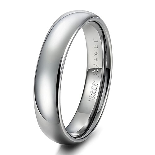 AWEI Comfort Fit Domed Tungsten Carbide Ring Classic Wedding Band Engagement Ring, Silver Color, 5mm Size 5.5 ()