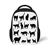 Cat Stylish Backpack - Black Cat Silhouettes in Different Poses Domestic Pets Kitty Paws Tail and Whiskers Decorative for School Travel - 9.4